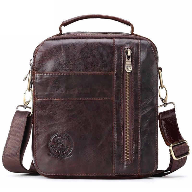 Men Genuine Leather Vintage Messenger Bag Casual Shoulder Bag Handbag