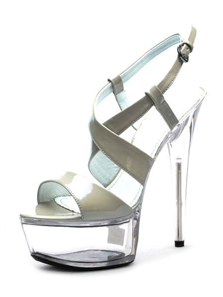 Milanoo Sandalias sexis de tacon alto con plataforma para mujer, sandalias cruzadas de cuero PU con punta abierta