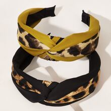 2pcs Leopard-Muster-Haarband