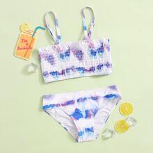 Bañador de niñas Fruncido Tie-Dye Multicolor Casual