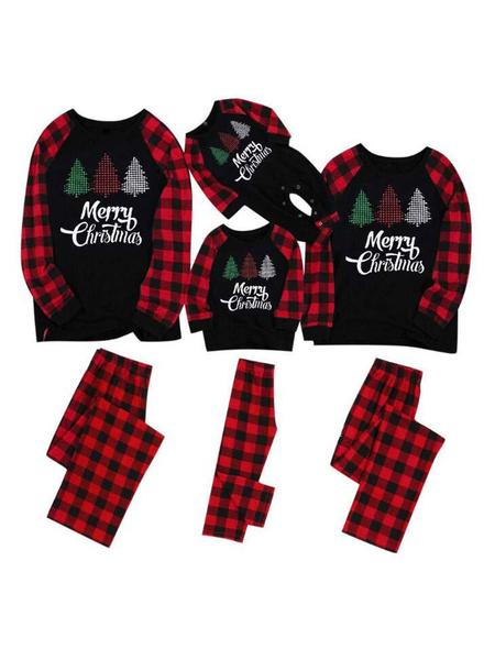 Milanoo Family Christmas Pajamas Cotton Blend Black PlaidChristmas Pattern TopPants Set