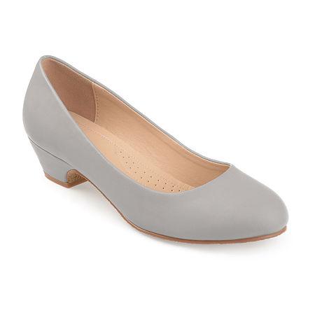 Journee Collection Womens Saar Pumps Block Heel, 8 1/2 Medium, Gray