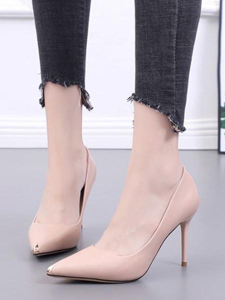 Milanoo Women\'s Pumps Black PU Lining Patent Leather Upper Pointed Toe Stiletto Heel