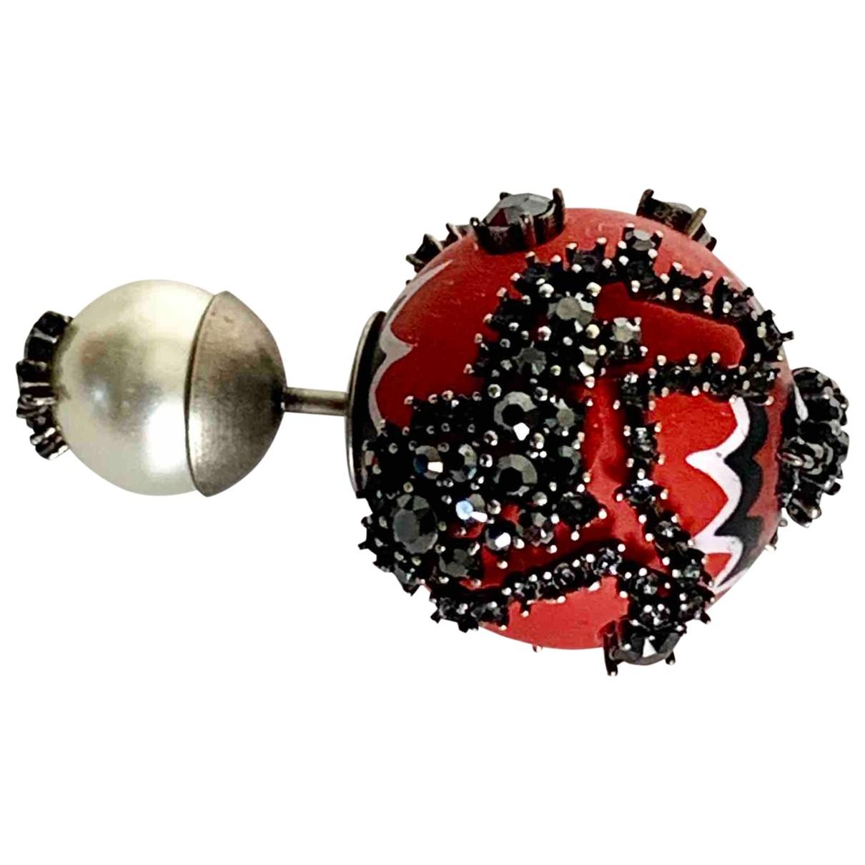 Dior - Boucles doreilles Tribal pour femme en metal - rouge