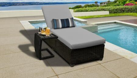Venice Collection VENICE-1x-ST-GREY Patio Set with 1 Chaise   1 Side Table - Wheat and Grey