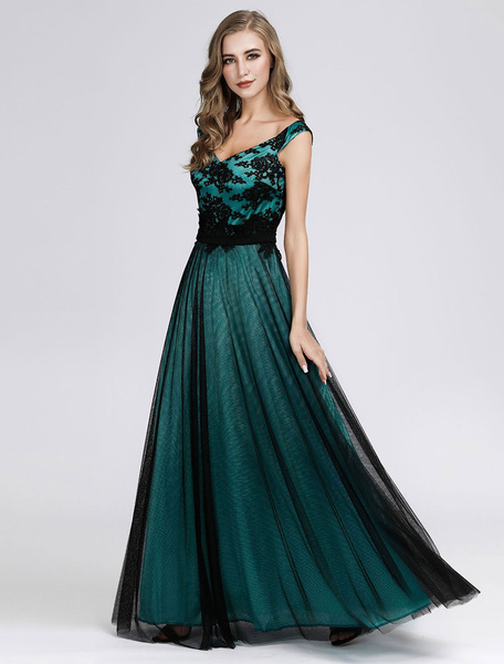 Milanoo Prom Dress 2020 Tulle Sleeveless Floor Length Graduation Wedding Guest Mother Dresses