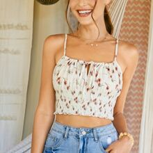 Tie Front Ruched Bust Shirred Crop Floral Cami Top