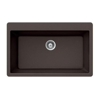 V-100 MOCHA Quartztone Series Granite Topmount Large Single Bowl Kitchen Sink