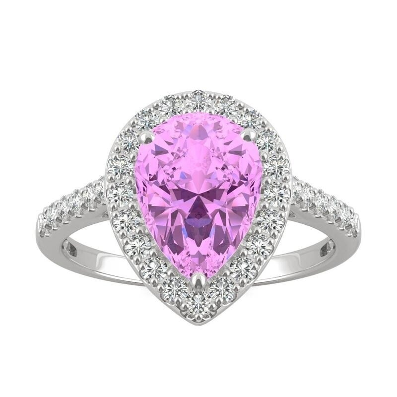 14k White Gold Moissanite by Charles & Colvard Pear Halo Ring with Pink Lab Created Sapphire (6)