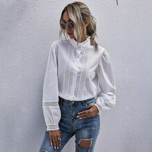 Frill Neck Lace Panel Blouse