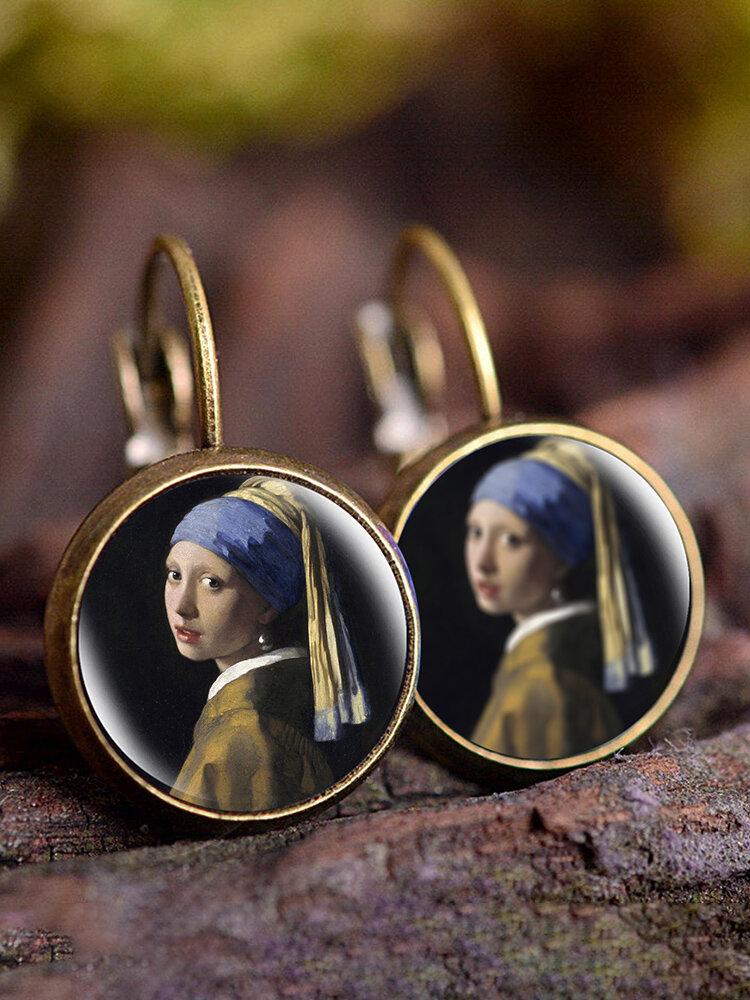 Vintage Glass Gemstone Dangle Earrings Famous Oil Printing Women Pendant Earrings