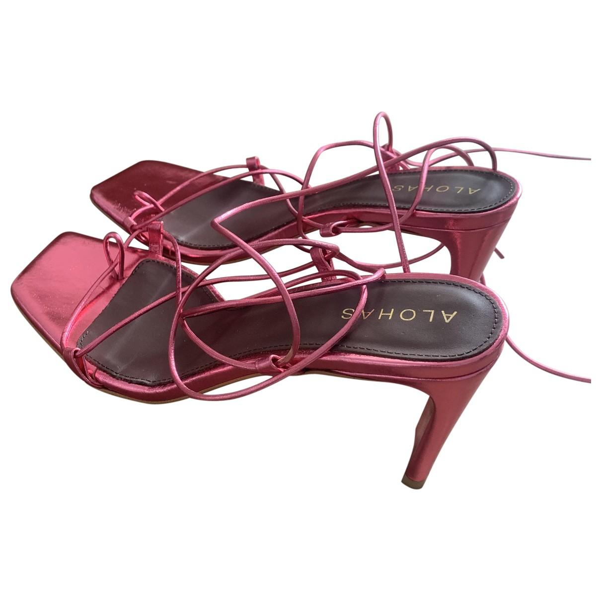 Alohas - Sandales   pour femme en cuir - metallise