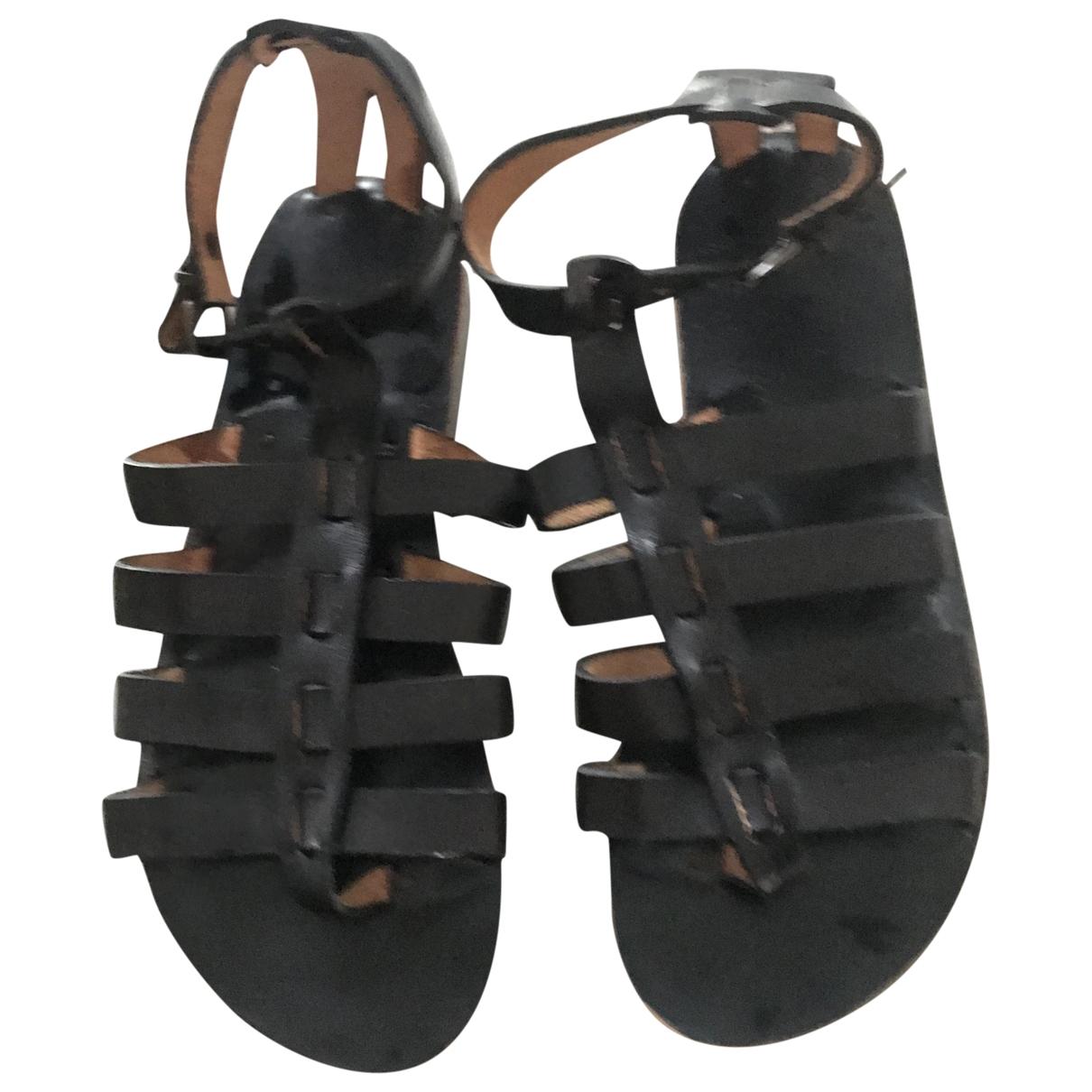 Non Signé / Unsigned Hippie Chic Black Leather Sandals for Women 39 EU
