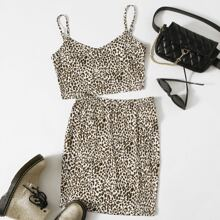 Leopard Print Crop Cami Top & Skirt Set