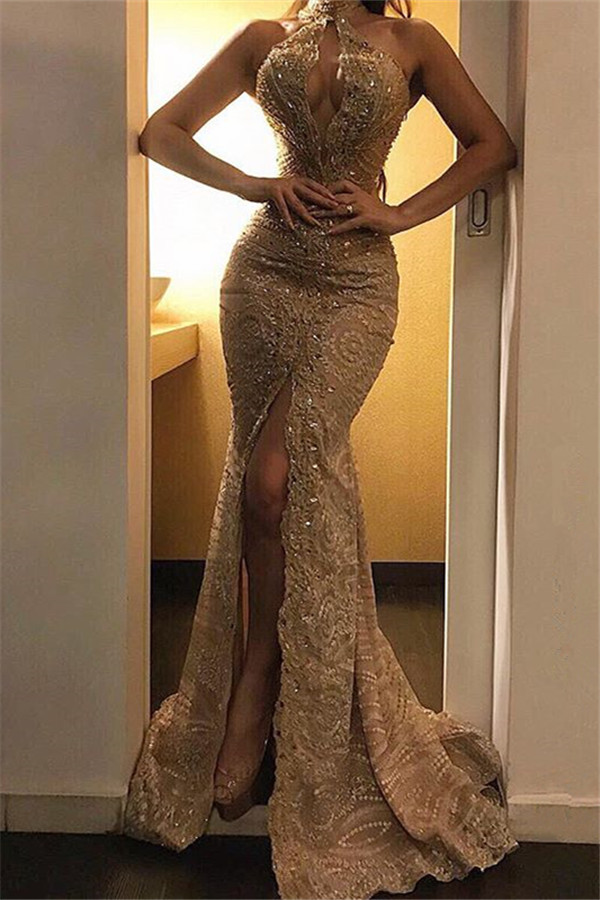Wholesale Lace Front Split Prom dresses | Modest High Neck Beadings Evening Dresses with Sexy Keyhole