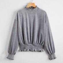 Corduroy Shirred Frill Trim Sweatshirt