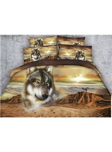 3D Wild Wolf in the Desert Print 5-Piece Comforter Sets