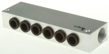 Legris 6 stations G 3/8 Manifold, Aluminium 3/8 in G