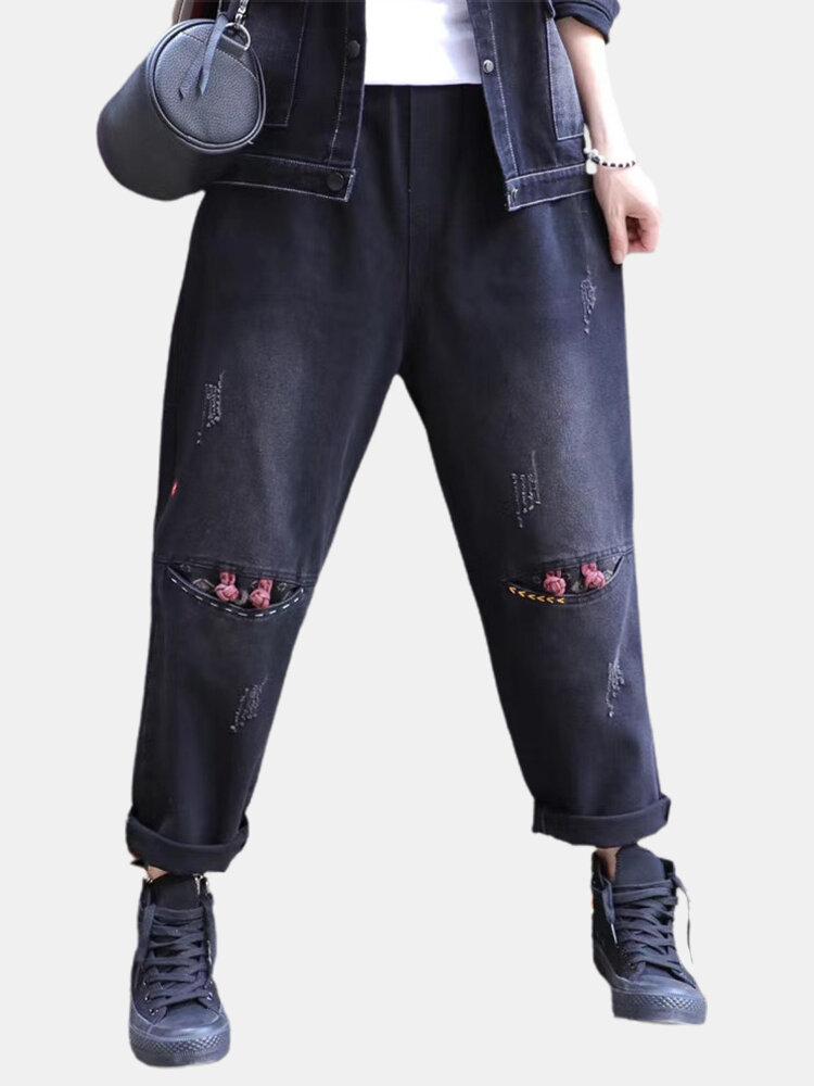 Ruffled Elastic Waist Frog Button Demin Jeans For Women