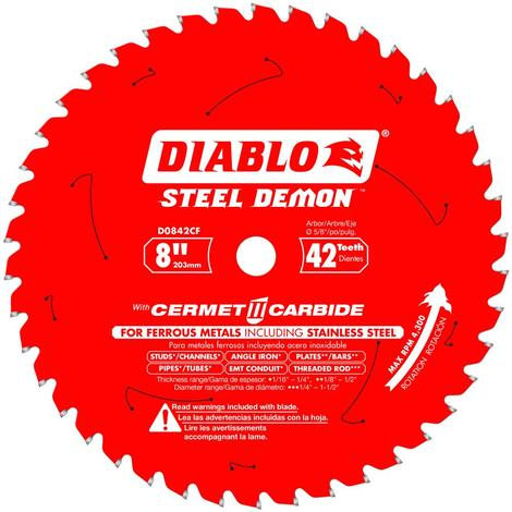 Diablo 8 in x 42 Tooth Steel Demon Cermet Metal and Stainless Steel Cutting Saw Blade