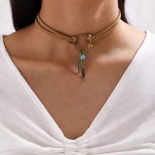 1 Stueck Halsband mit Feder Anhaenger