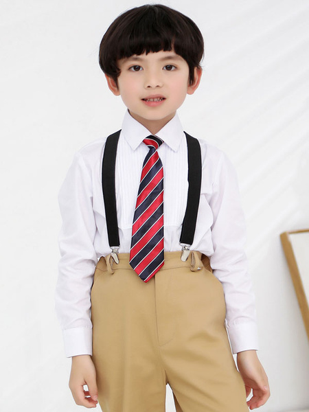Milanoo Ring Bearer Suits Cotton Long Sleeves Pants Tie Shirt Wedding Boy Suits 3pcs