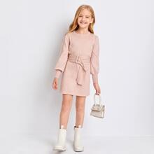 Girls Lantern Sleeve Buckle Belted Sweater Dress