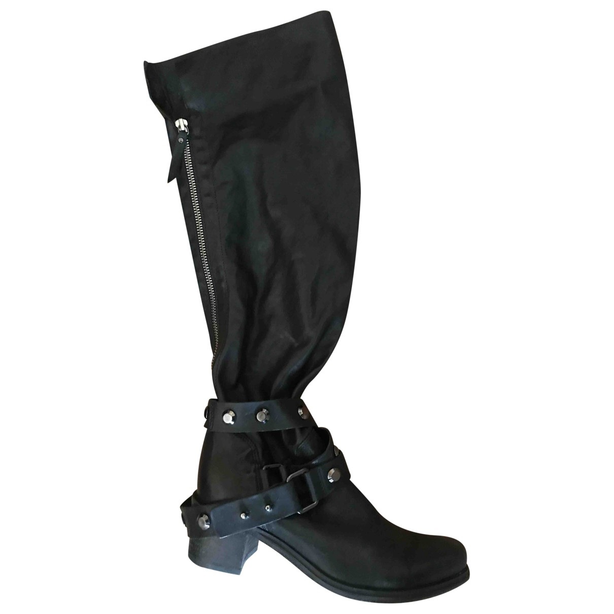 Vic Matié \N Black Leather Boots for Women 35 EU