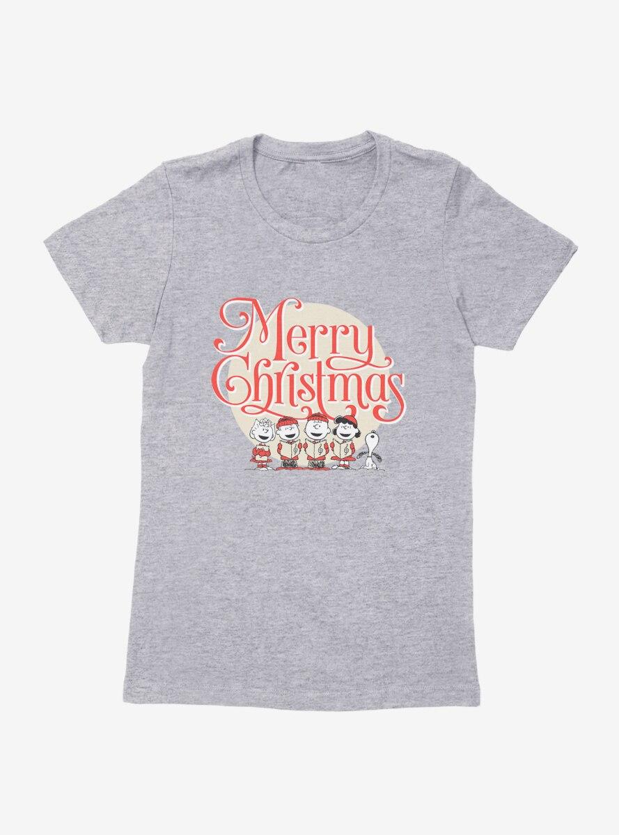 Peanuts Vintage Merry Christmas Carolers Womens T-Shirt