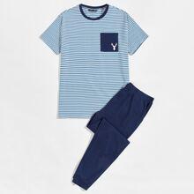 Schlafanzug Set mit Elch Muster, Taschen vorn und Streifen