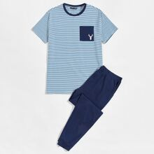 Men Elk Print Pocket Front Striped Top & Pants PJ Set