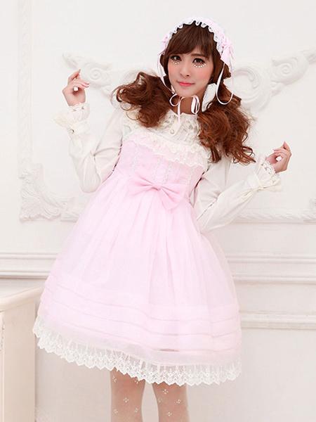 Milanoo Sweet Lolita Dress OP Lace Trim Bow Decor Chiffon One Piece Lolita Dress