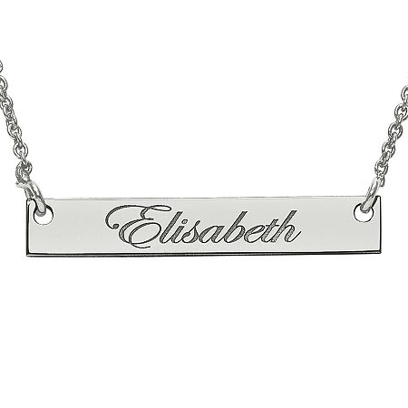 Personalized 4x26mm Script Name Bar Necklace, One Size , White