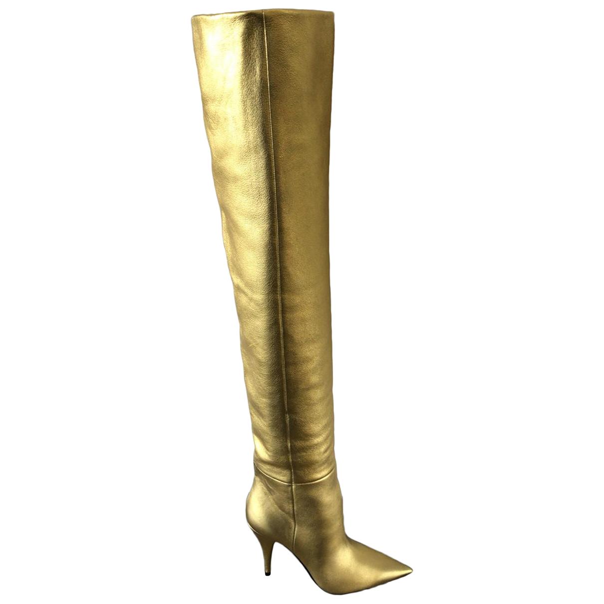 Saint Laurent - Bottes   pour femme en cuir - dore