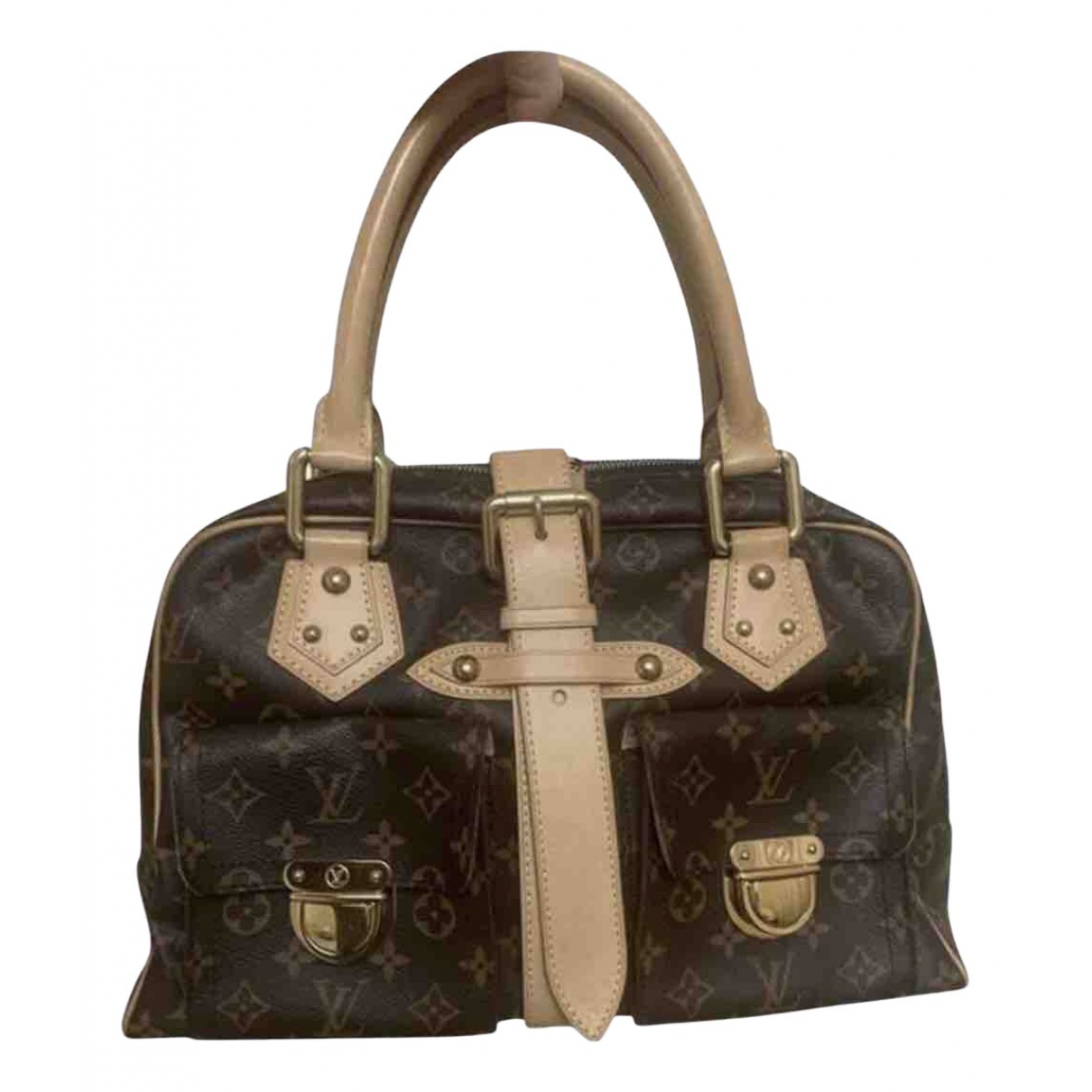 Louis Vuitton - Sac a main Manhattan pour femme en toile - marron