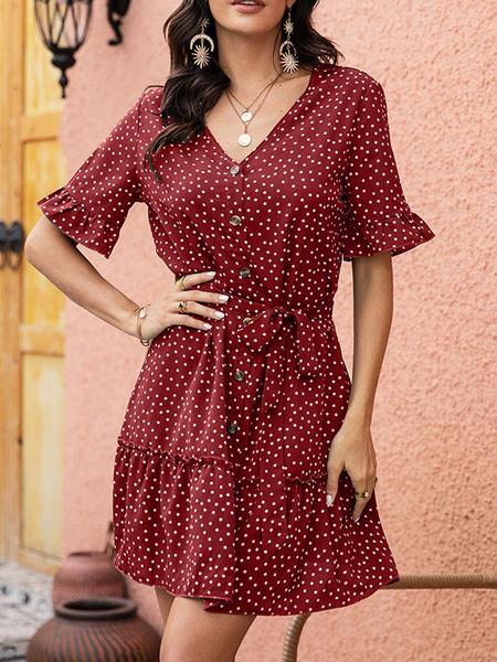 Milanoo Summer Dress V Neck Polka Dot Button Beach Dress