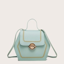 Stitch Design Geometric Shaped Satchel Bag