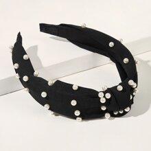 Stirnband mit Kunstperlen & Knoten Dekor