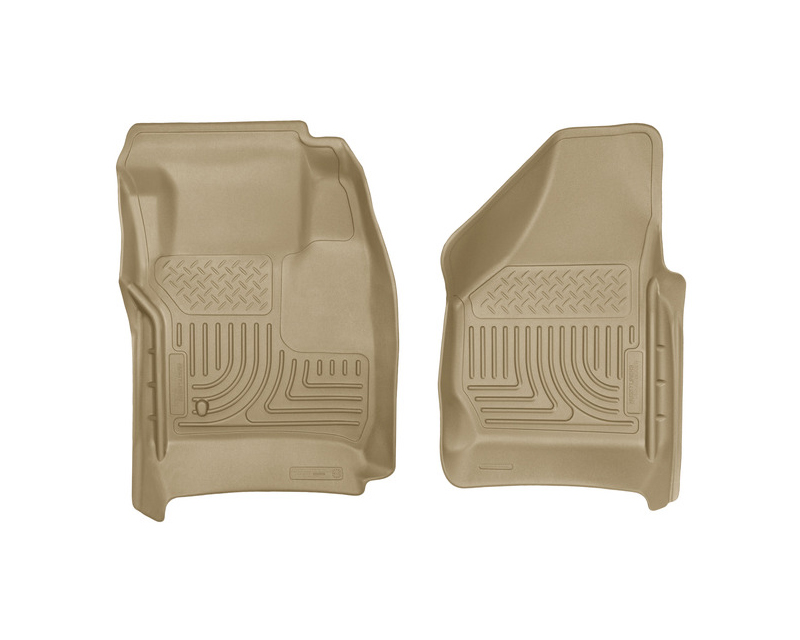 Husky Floor Liners Front 08-10 Ford F-Series WeatherBeater-Tan