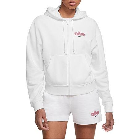 Nike Womens Hooded Neck Long Sleeve Hoodie, X-large , White