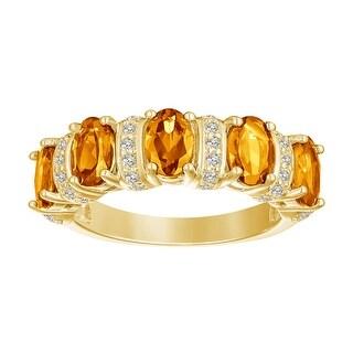 5-Stone Oval-Cut Gemstone with Alternating White Zircon Gemstone Wedding Band, Sterling Silver (Yellow - Yellow - Yellow - 8 - Citrine)