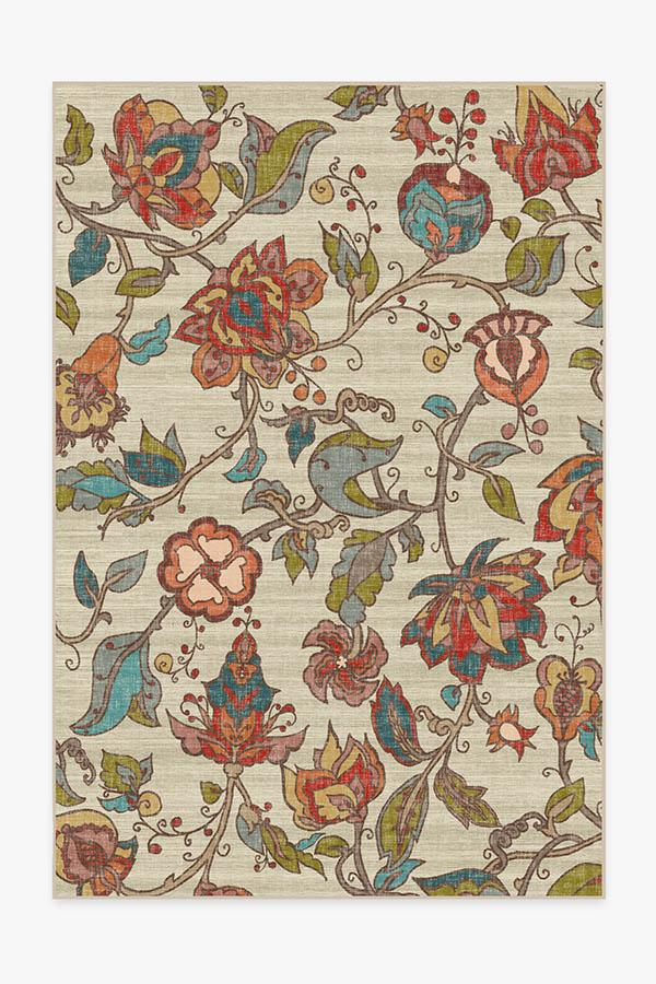Washable Rug Cover & Pad | Frida Floral Natural Rug | Stain-Resistant | Ruggable | 6'x9'