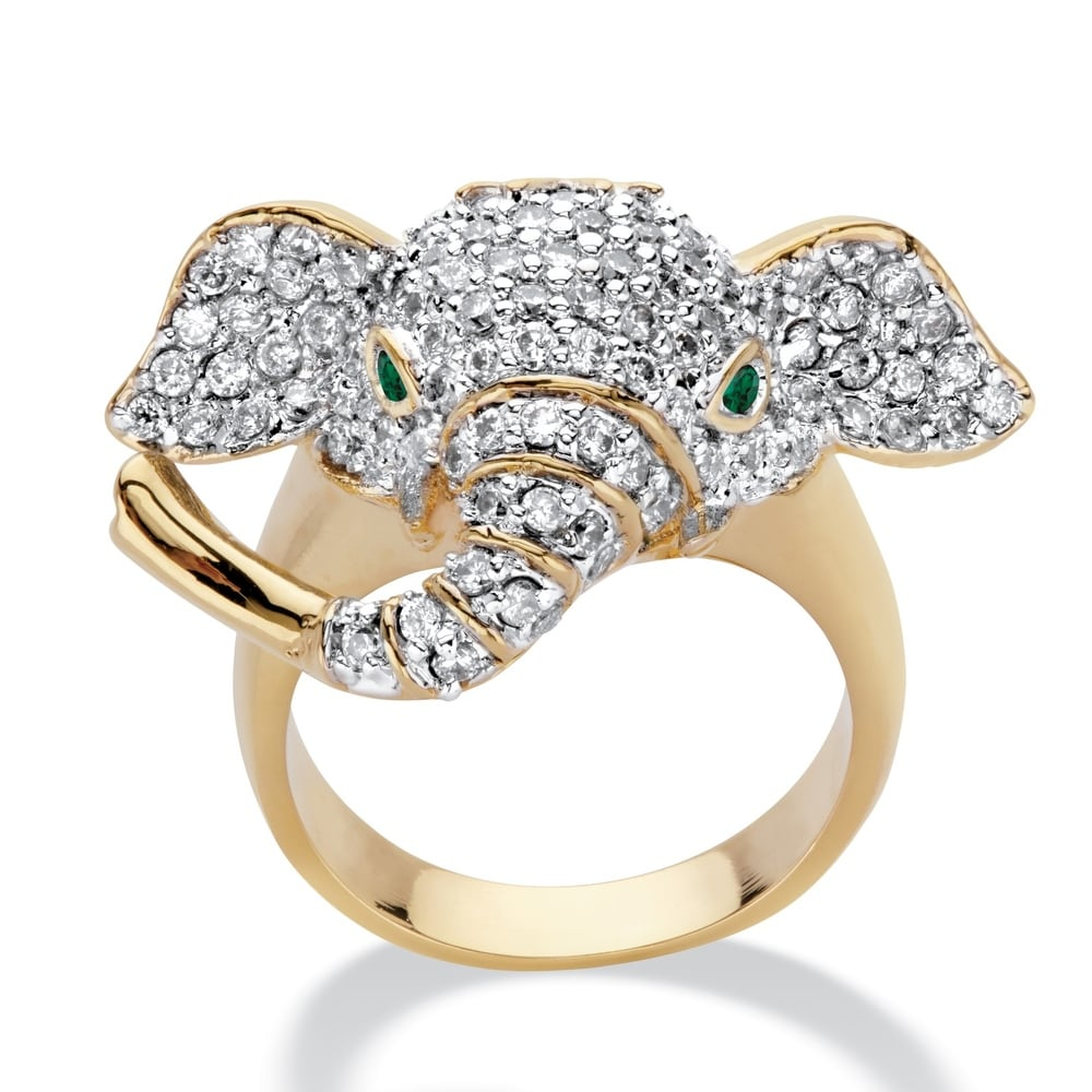 Gold Plated Cubic Zirconia and Green Crystal Elephant Ring (7)