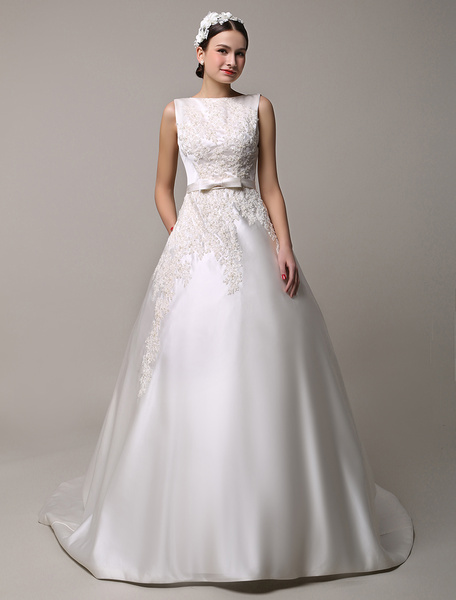 Milanoo Bateau Neck Ball Gown Open Back Lace Wedding Dress with Insert Pockets