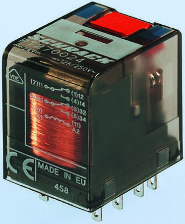 TE Connectivity , 115V ac Coil Non-Latching Relay 4PDT, 6A Switching Current PCB Mount, 4 Pole
