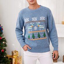 Men Christmas Pattern Crew Neck Sweater