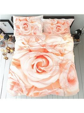 Champagne Rose Three-Piece Set Duvet Cover Set Reactive Printing Polyester Bedding Sets