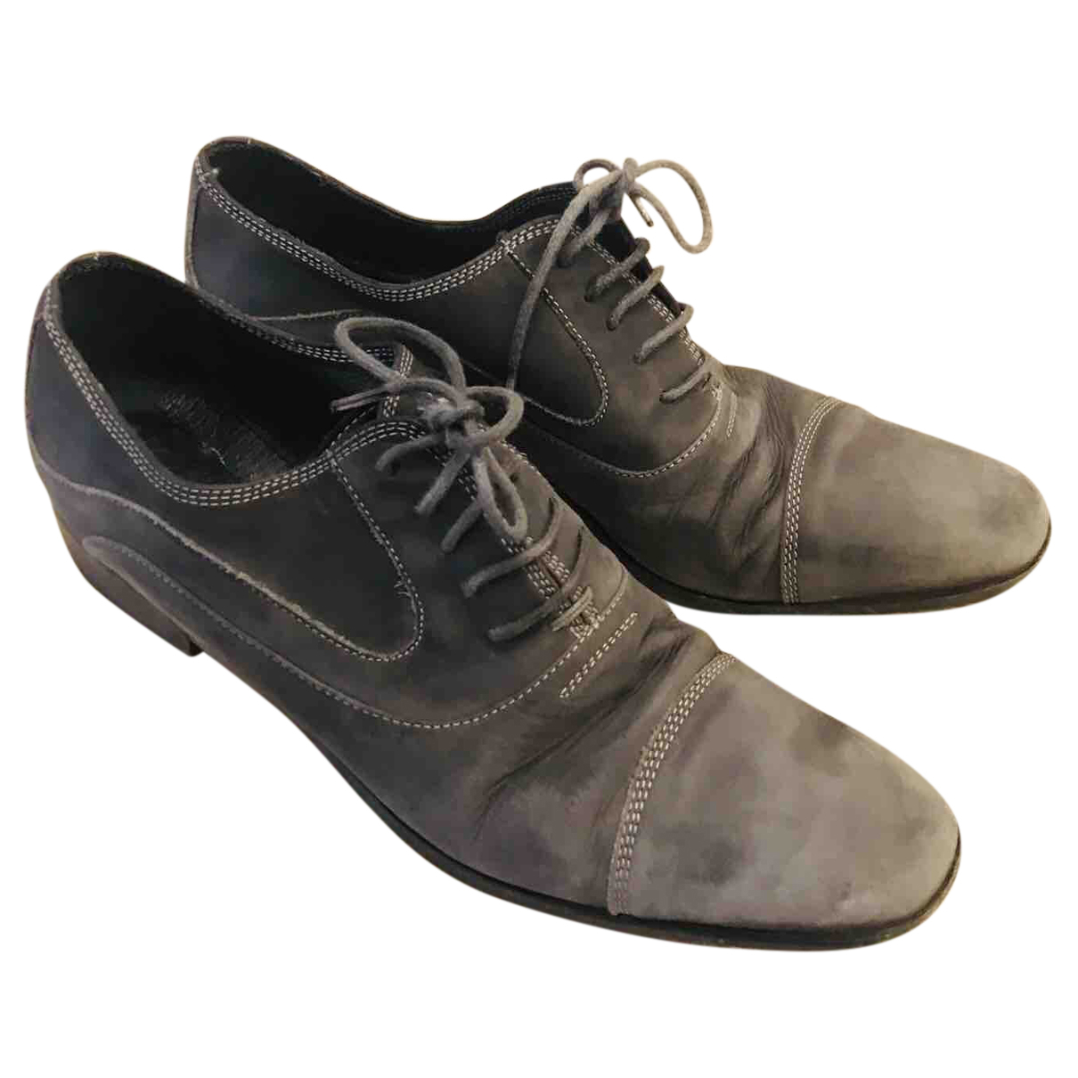 Non Signé / Unsigned N Grey Leather Lace ups for Women 5 UK
