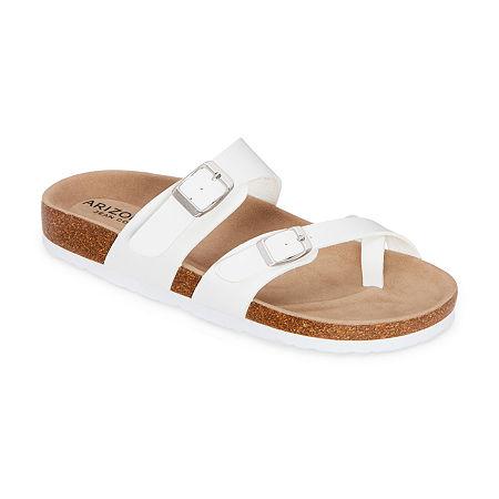 Arizona Fairhaven Womens Adjustable Strap Footbed Sandals, 6 1/2 Medium, White
