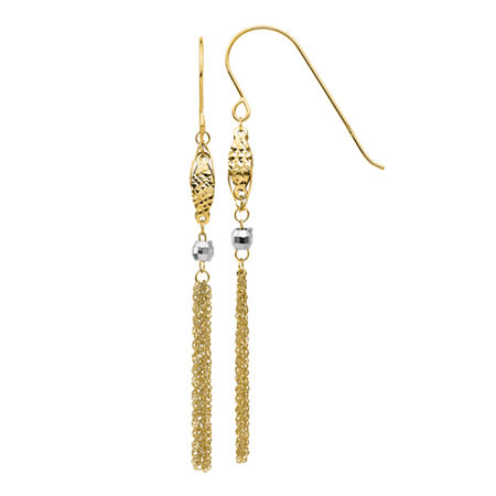 14K Two Tone Gold Drop Earrings, One Size , No Color Family